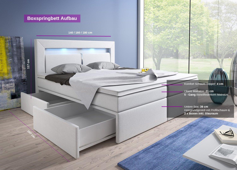 boxspringbett 140 200 mit stauraum. Black Bedroom Furniture Sets. Home Design Ideas