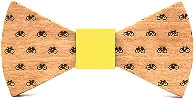 Territorial Pajarita de madera Bike para niño. Colección de moda infantil: Confeccionada en España Línea boda y eventos. Diseño con bicicletas. Regalo divertido y original (Amarillo): Amazon.es: Ropa y accesorios