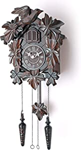 Cuckoo Clock with Night Mode, Hand Carved Birds, Weights and Swinging Pendulum (Brown, 20
