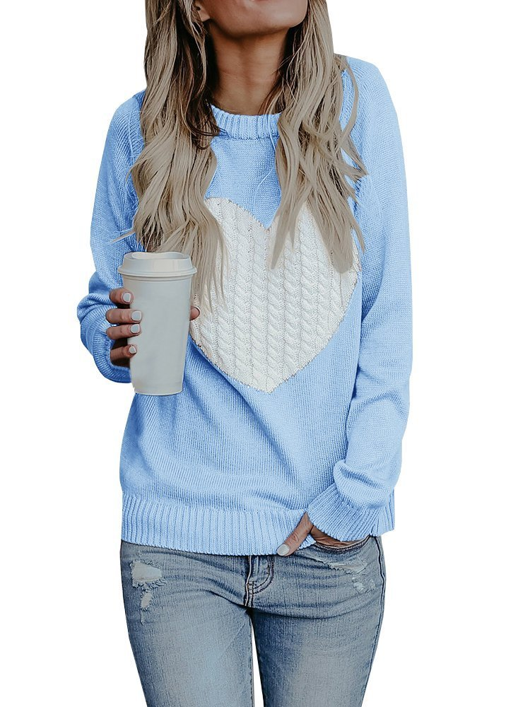 Dellytop Womens Sweaters Cute Heart Crewneck Long Sleeve Pullovers Tops Warm Knit Jumper