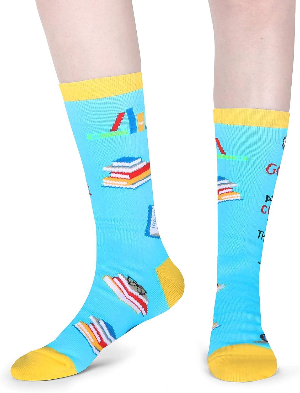Fun Teacher Gift HAPPYPOP Womens Girls Novelty Crazy Book Reading Crew Socks