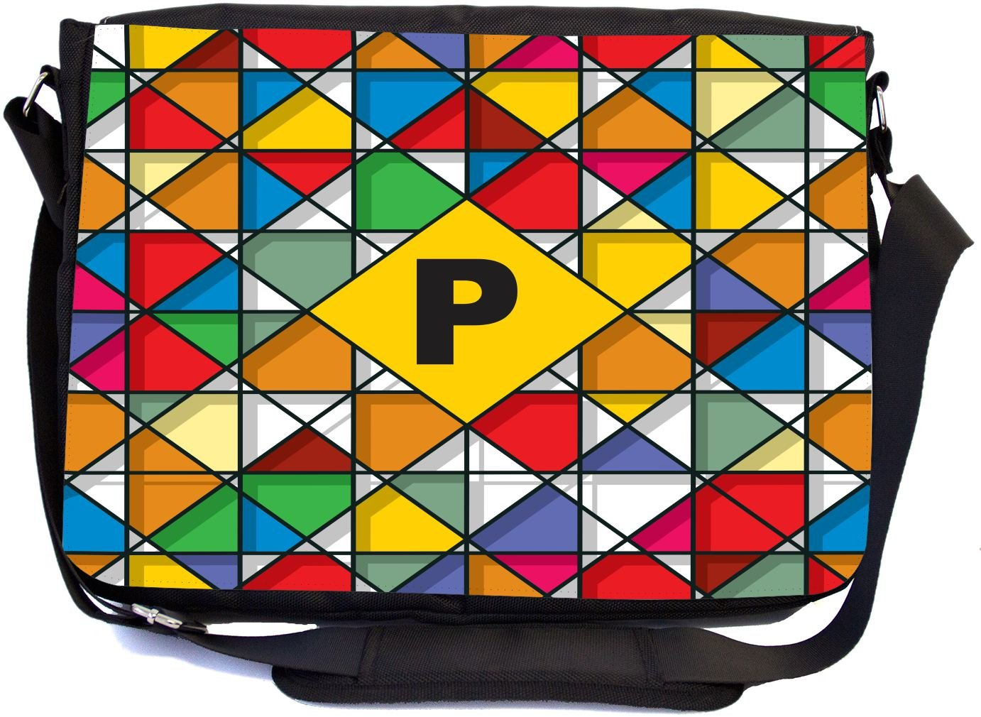 Rikki Knight Letter P Monogram Vibrant Colors Stained Glass Design Design Combo Multifunction Messenger Laptop Bag - with Padded Insert for School or Work - Includes Wristlet & Mirror
