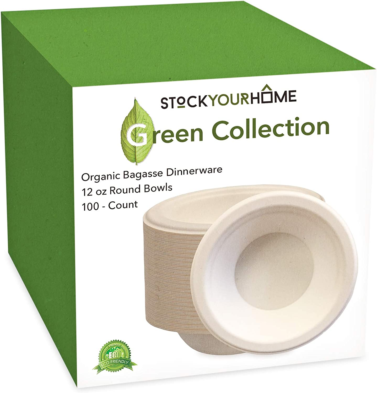 Compostable Bagasse Bowls - Eco Friendly Dinnerware - Biodegradable and Recyclable, 100 Pack, 12 Oz