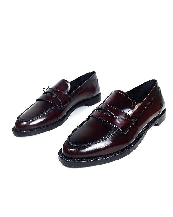 Massimo Dutti - Mocasines de Cuero para Mujer Rojo Rojo, Color Rojo, Talla 37 EU: Amazon.es: Zapatos y complementos