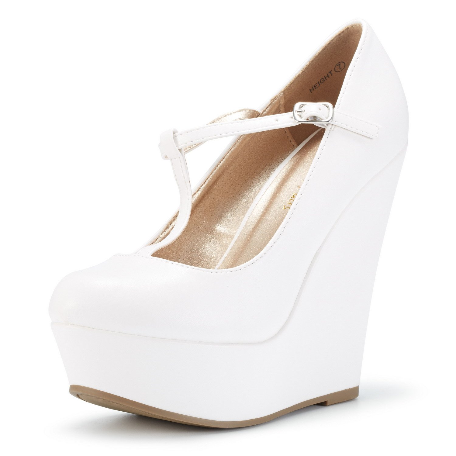 DREAM PAIRS Women's Wedge-Height White Pu Mary-Jane T-Strap Wedge Platform Pumps Shoes Size 6 B(M) US