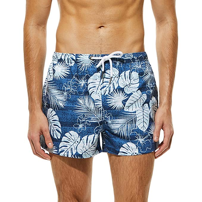 07fefdf45d50 Lenfesh Pantalones Shorts con Estampado Playa Surf Trajes De Baño ...