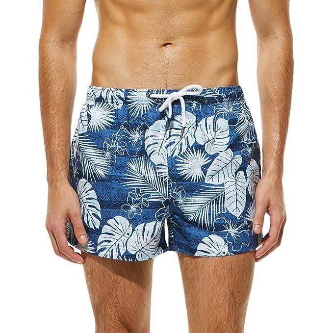 b104e56d1fde Lenfesh Pantalones Shorts con Estampado Playa Surf Trajes De Baño ...
