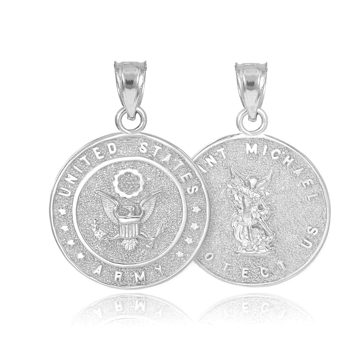 Fine 14k White Gold St Michael Medal Protection Charm US Army Reversible Necklace Pendant