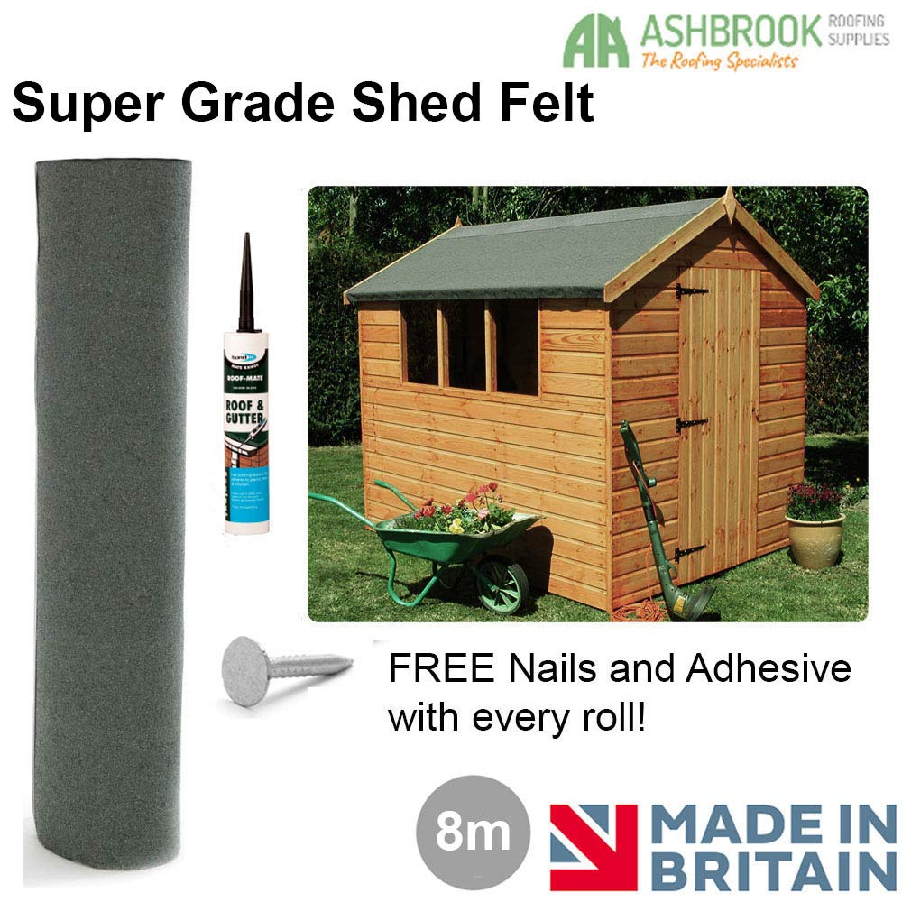 Super Grade 8m Shed Felt - Green (Including FREE Adhesive and Nails) Ashbrook Roofing