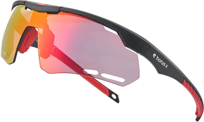 Horus X - Gafas de Sol Deportivas - Gafas de Sol con protección UV400 - Gafas de Sol Deportivas para Ciclismo y para Correr al Aire Libre - Hombre y Mujer - 2 tamaños