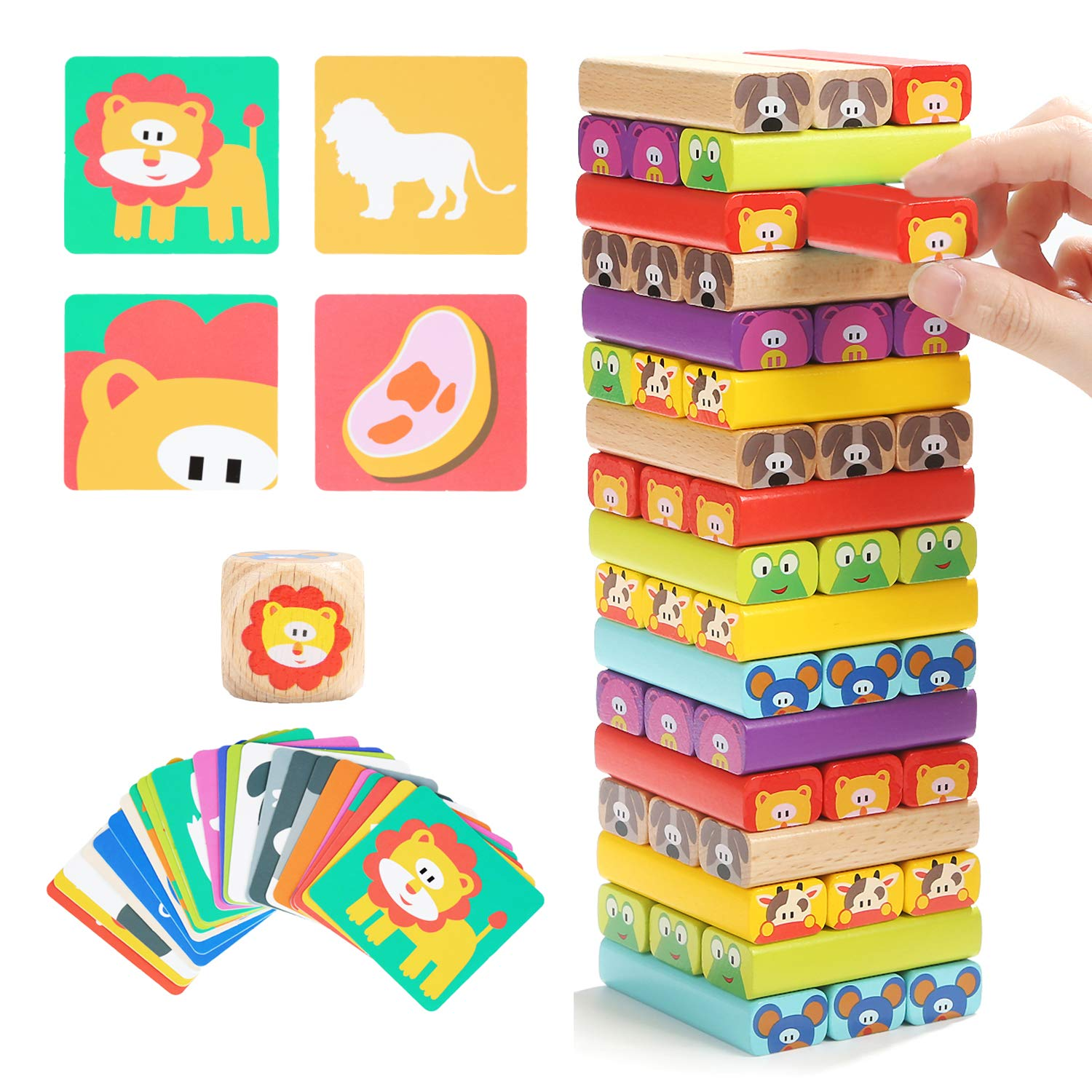 TOP BRIGHT Colored Wooden Blocks Stacking Board Games for Kids Ages 4-8 with 51 Pieces by TOP BRIGHT