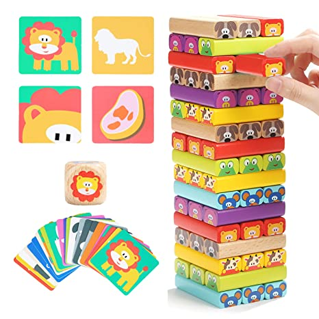 Top Bright Colored Wooden Blocks Stacking Board Games For Kids Ages 4 8 With 51 Pieces by Top Bright