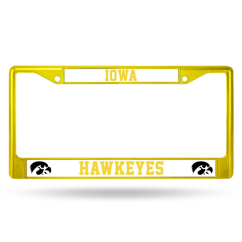 Yellow Rico Industries NCAA Iowa Hawkeyes Team Colored Chrome License Plate Frame