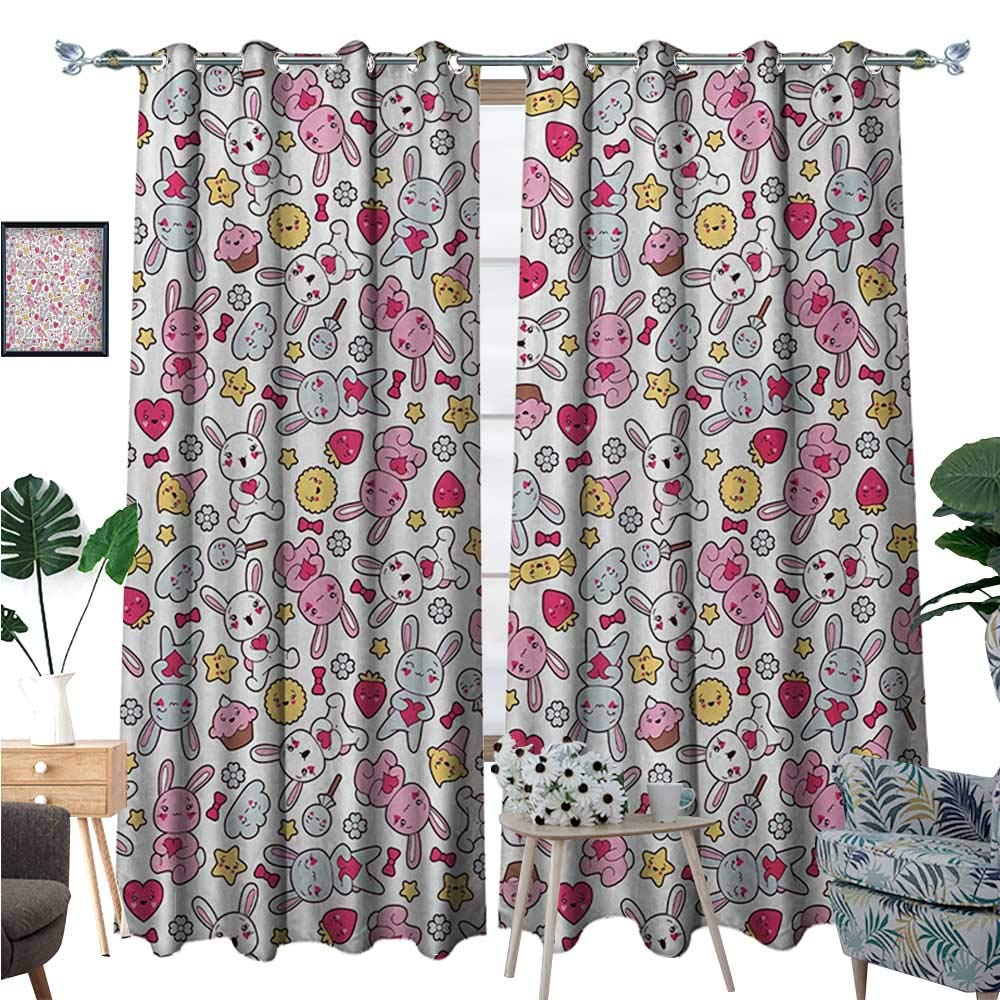 BlountDecor Anime Patterned Drape for Glass Door Japanese Cartoon Pattern for Kids Nursery with Happy Bunnies Cupcakes Hearts Flowers Waterproof Window Curtain W96 x L84 Multicolor by BlountDecor