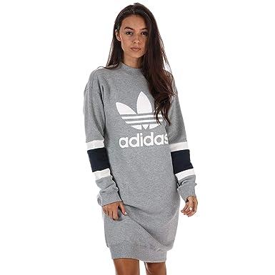 adidas Originals Robe Pull Col Rond Gris Femme  Amazon.fr  Vêtements ... e84f9d62b50