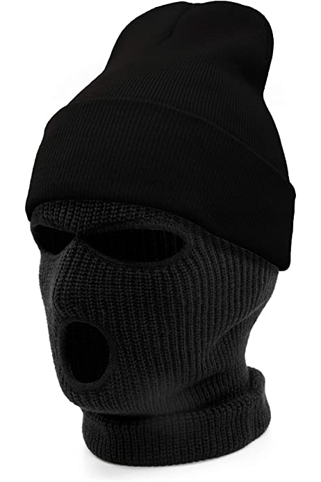 3 Hole Ski Mask Warm Thick Fleece Lined  Winter Ski Hat face mask cap skully