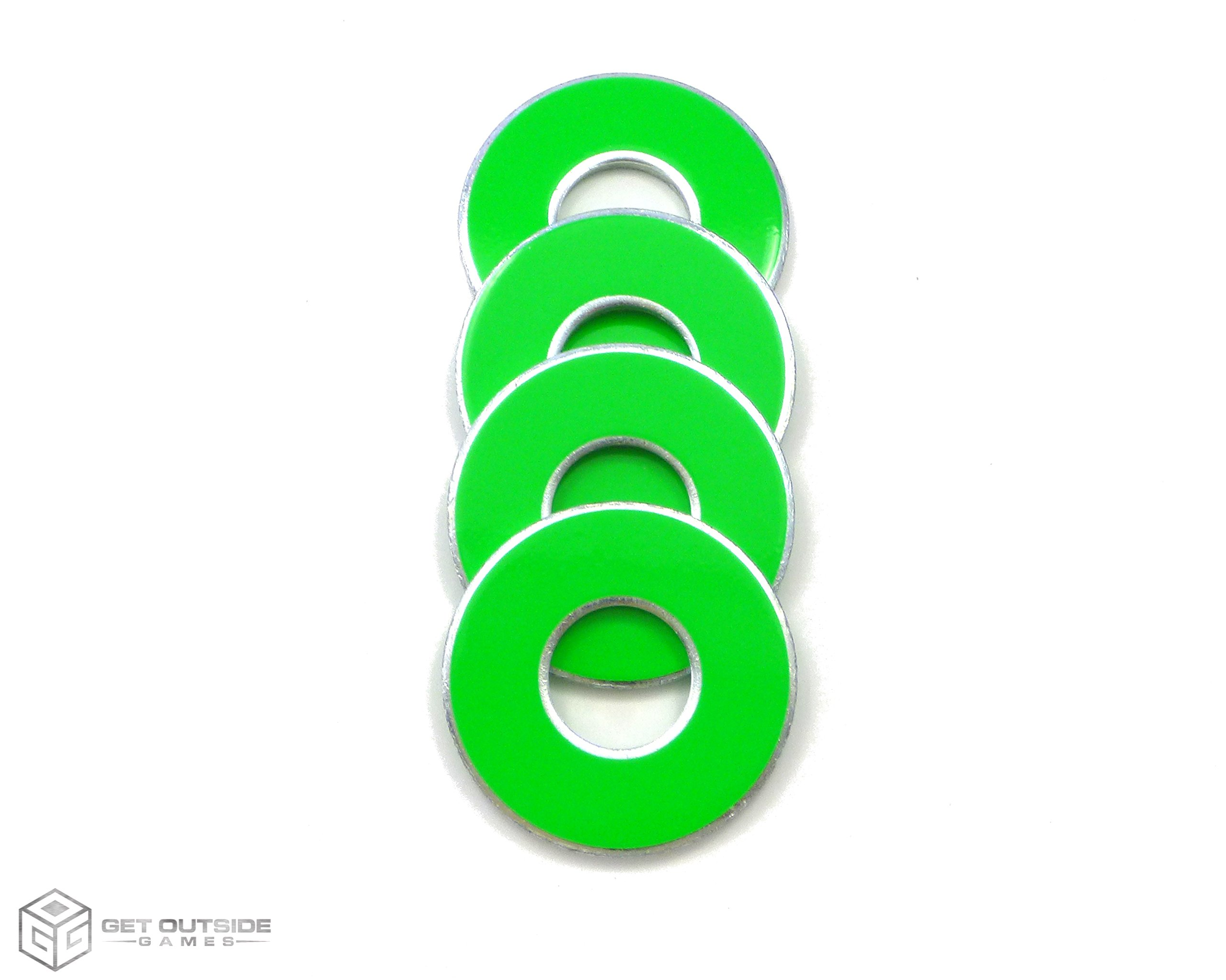 Get Outside Games 4 Neon Fluorescent VVashers - Washer Toss/Washer Game Washers - 5 Colors (Green, 4 VVashers) by Get Outside Games