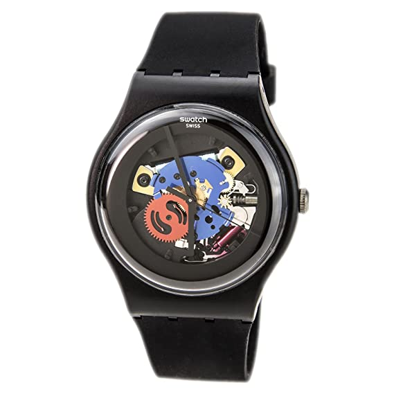 unisex watch black details watches from swiss plastic strap product once again swatch shop fpx