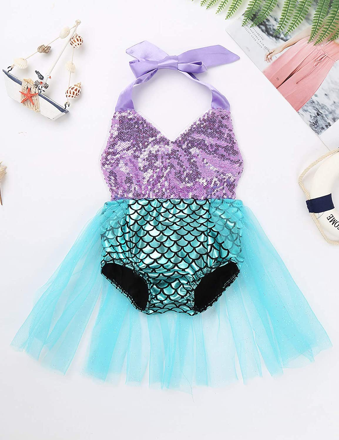 iEFiEL Infant Baby Girls Mermaid Princess Costume Sequins Scales Printed Halter Romper Bodysuit Mermaid Swimsuit Green 0-3 Months