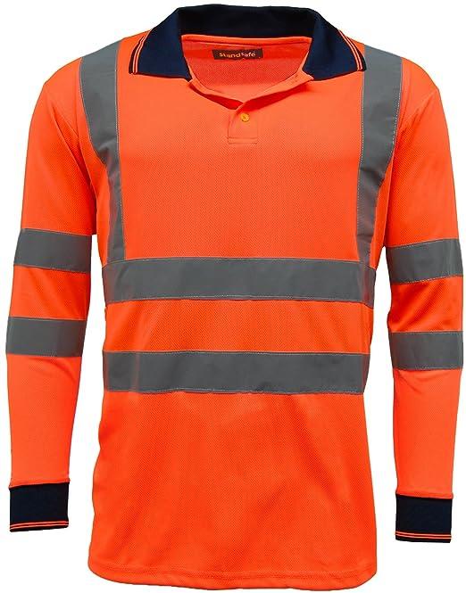 10ae011504b8 BSeen High Visibility Yellow Long Sleeve Polyester Polo Shirt Hi Viz Class  3 New