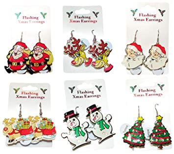 414d45fee 1029 Christmas Flashing Festive Earrings for pierced ears: Amazon.co ...