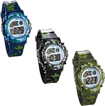 JewelryWe 3pcs Relojes de Pulsera para Niños Niñas Infantil, Reloj Digital Deportivo Militar de Colores Camuflaje, Multifunciones Relojes para Chicos Chicas: Amazon.es: Relojes