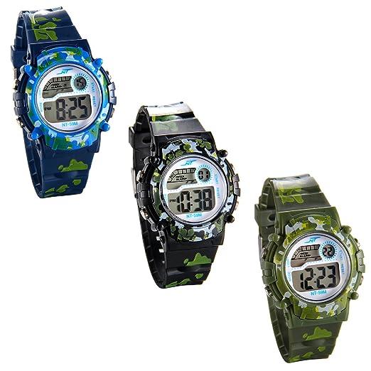 JewelryWe 3pcs Relojes de Pulsera para Niños Niñas Infantil, Reloj Digital Deportivo Militar de Colores Camuflaje, Multifunciones Relojes para Chicos ...
