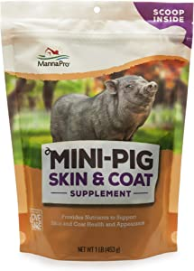 Manna Pro Mini Pig Skin and Coat Supplements | Provides Nutrients to Promote Skin and Coat Health | Contains Flaxseed, Biotin & Vitamin E | 1lb