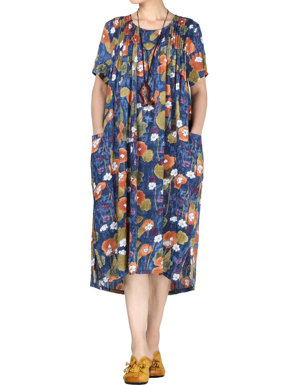 Mordenmiss Women's Summer Flowers Pleated Dress with Pockets M Blue