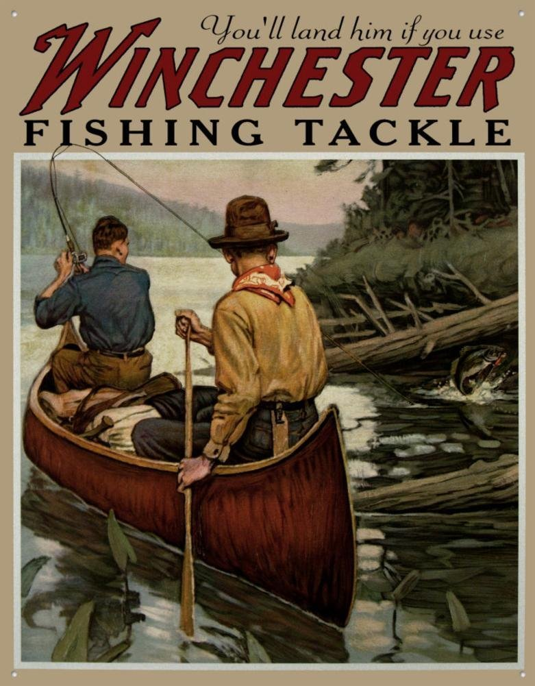 Tin Sign Winchester Fishing Tackle 13x16 Poster Discount TSN1008