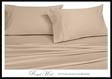Split King: Adjustable King Bed Sheets 5PC Solid Tan 100% Cotton 600