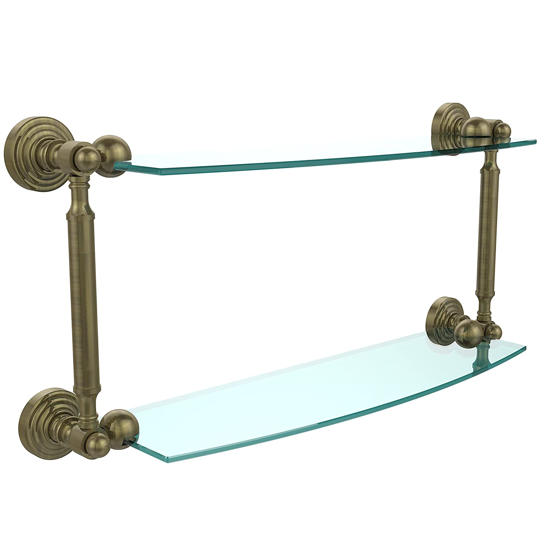 Allied真鍮Waverly Place 2層ガラスシェルフ 18 Inch WP-34/18-ABR 1 B007WV34EE アンティーク真鍮,18 Inch