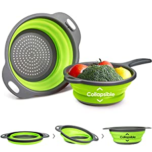 "Longzon 2 Collapsible Colander Strainer Set, Over the Sink Vegetable/Fruit Silicone Colanders Strainers with Extendable Handles 2 Quart and 9.5"" - 3 Quart Green and Grey"