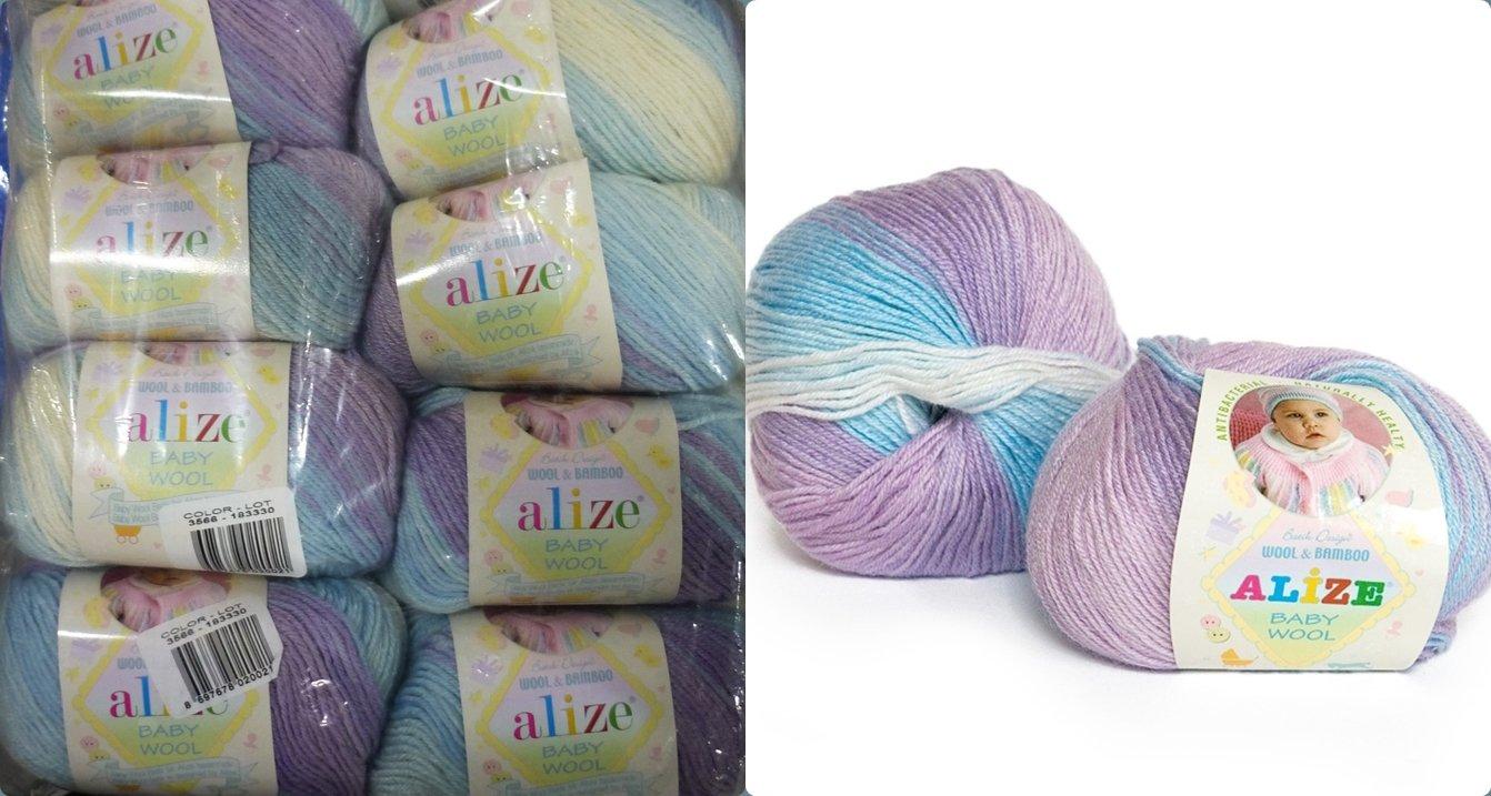 40% Acrylic 40% Wool 20% Bamboo Yarn for Baby Blanket Alize Baby Wool Batik Thread Crochet Hand Knitting Turkish Yarn Craft Art Lot of 8 skeins 400gr 1536 yds Color Gradient 3566