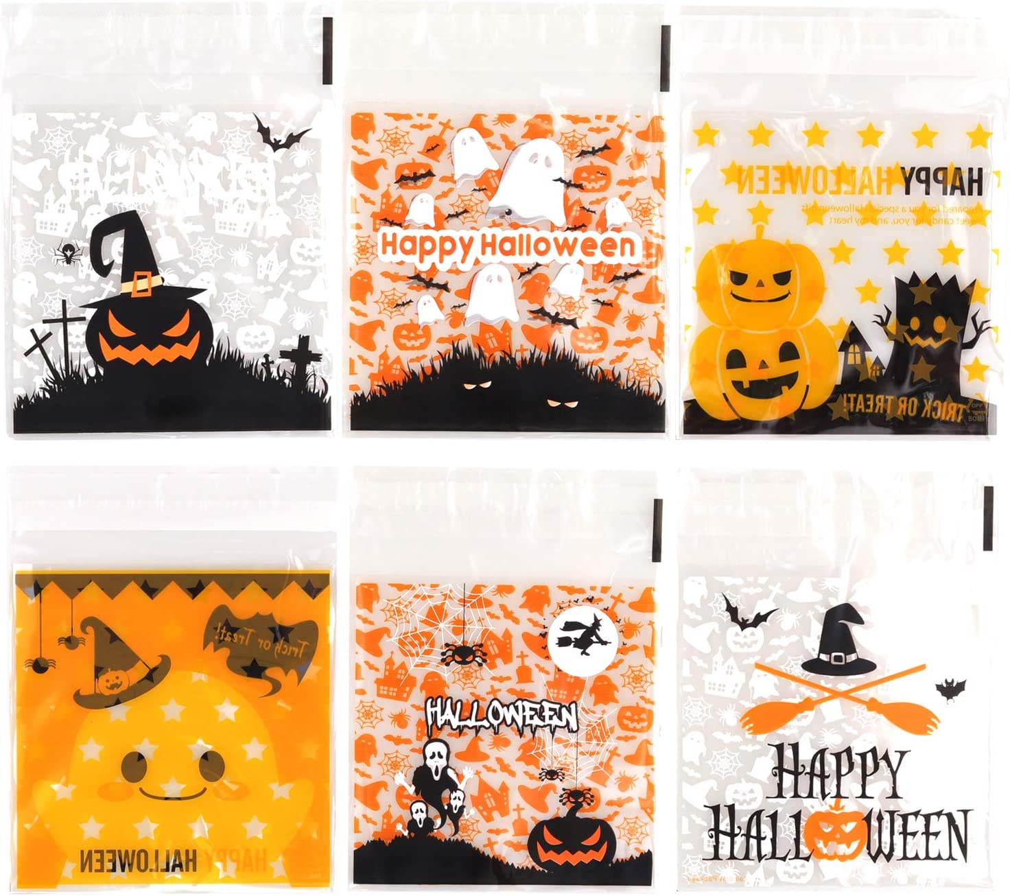 300 Pcs Halloween Treat Bags Self Adhesive Candy Bag Clear Plastic Cellophane Cookie Bags for Halloween Treats, Homemade Craft, Party Favors