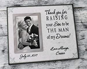 parent wedding gift from daughter in law, personalized wedding picture frame, thank you for raising your son to be the man of my dreams