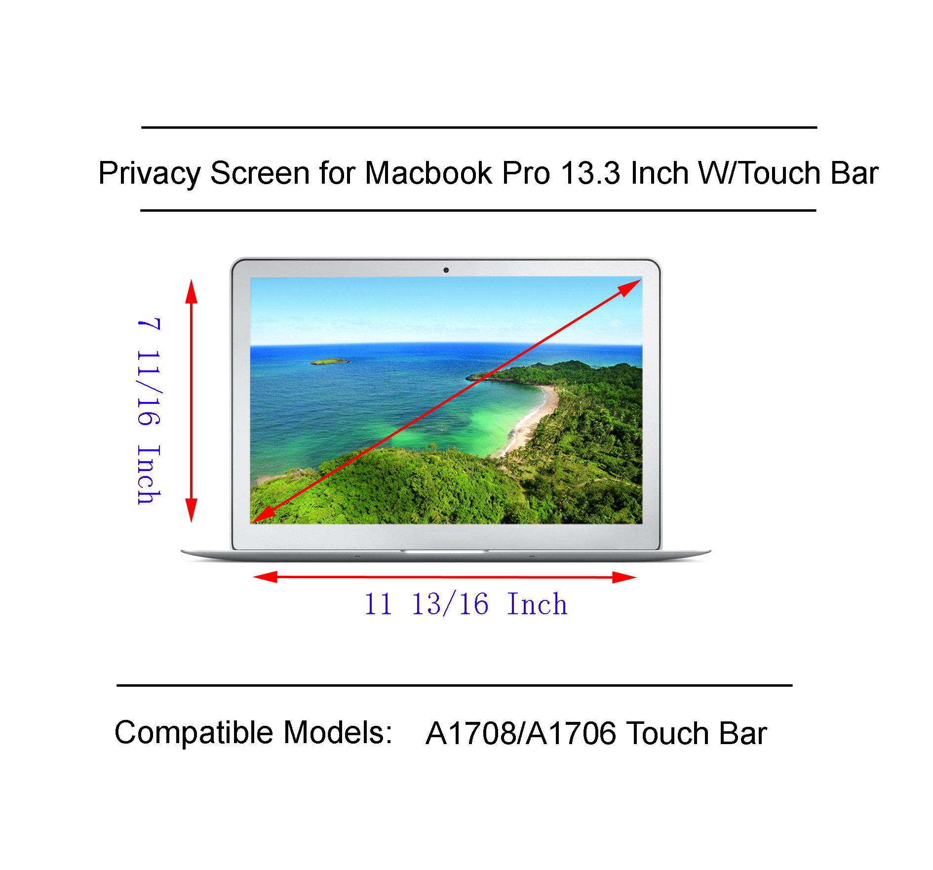 Privacy Screen for 13 Inch Macbook Pro Privacy Screen 2017/2016 with Retina Display (Model: A1706 and A1708) by Long Sheng (Image #6)