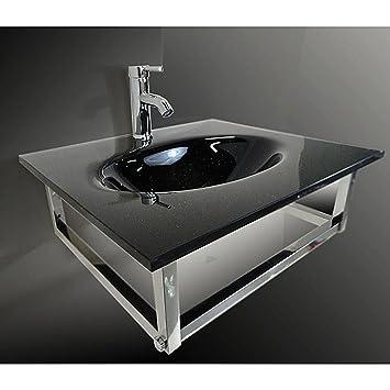 Bathroom Small Black Vessel Sink Combo Floating Sink Set