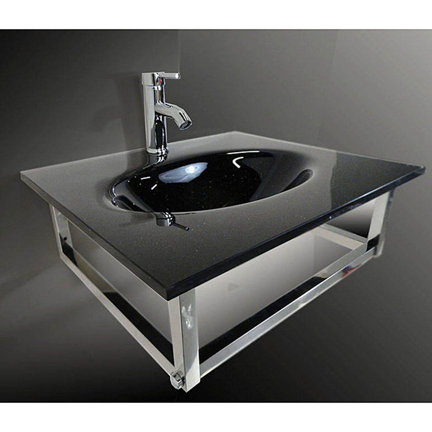 Bathroom Small Black Vessel Sink Combo Floating Sink Set by HTU
