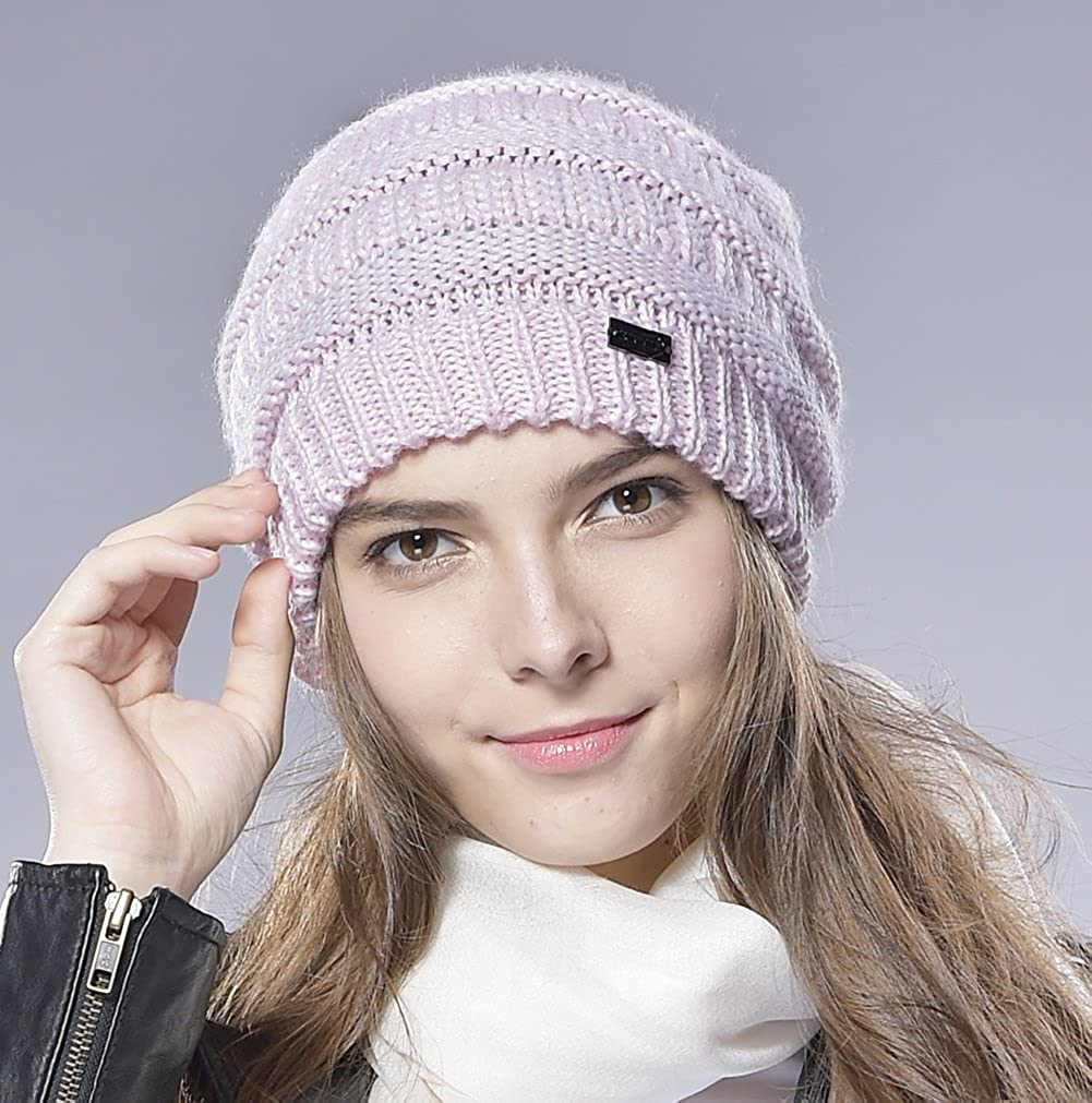 8f93142a398 FURTALK Ladies Knit Slouch Winter Hat - Wool Baggy Chunky Cable Beanie Hats  for Women  Amazon.co.uk  Clothing