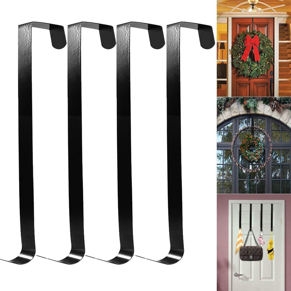 HOMEMAXS Metal Wreath Hanger Over The Door Wreath Holder 4 Packs 13.8inch Larger Wreath Metal Hook for Christmas (Black)