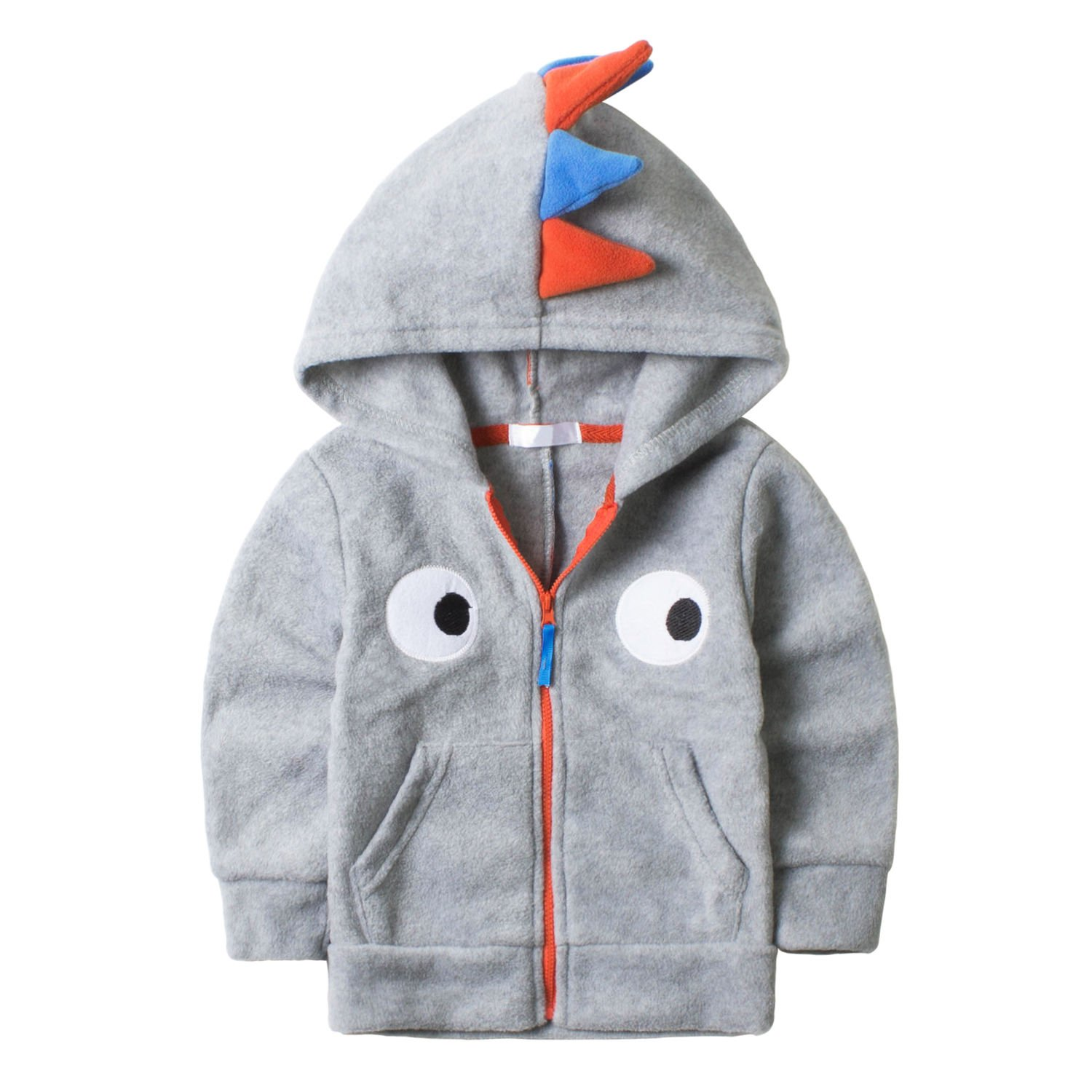 Baby Boys Dinosaur Fleece Hoodies Clothes Toddler Zip-up Light Jacket Sweatshirt