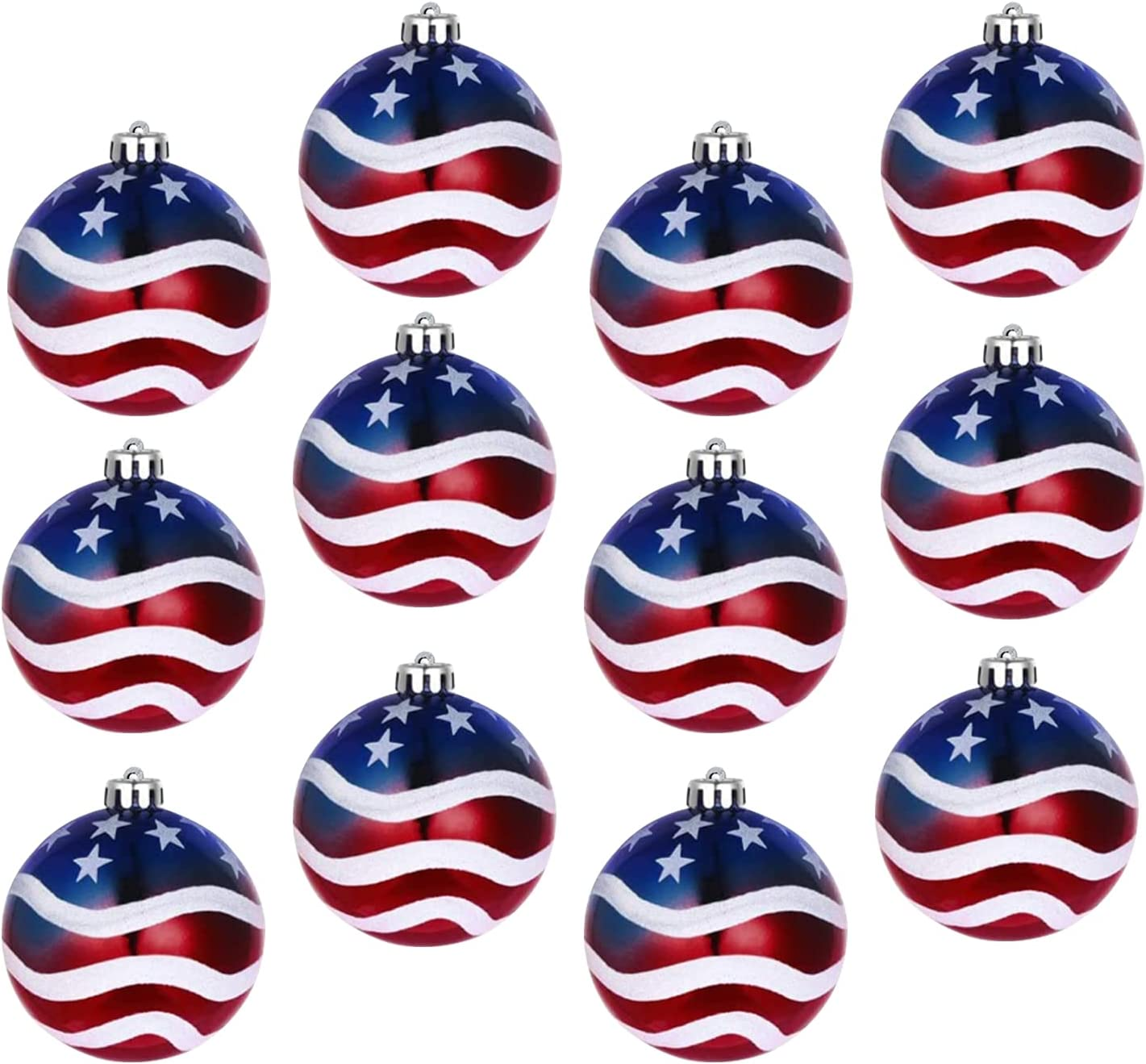12PCS Independence Day Ball Ornament - 4th of July Patriotic Hanging Ball Decoration USA Themed Party Decor Tree Ornaments for Independence Day Party Decor Indoor Outdoor Ball Hanging Decoration