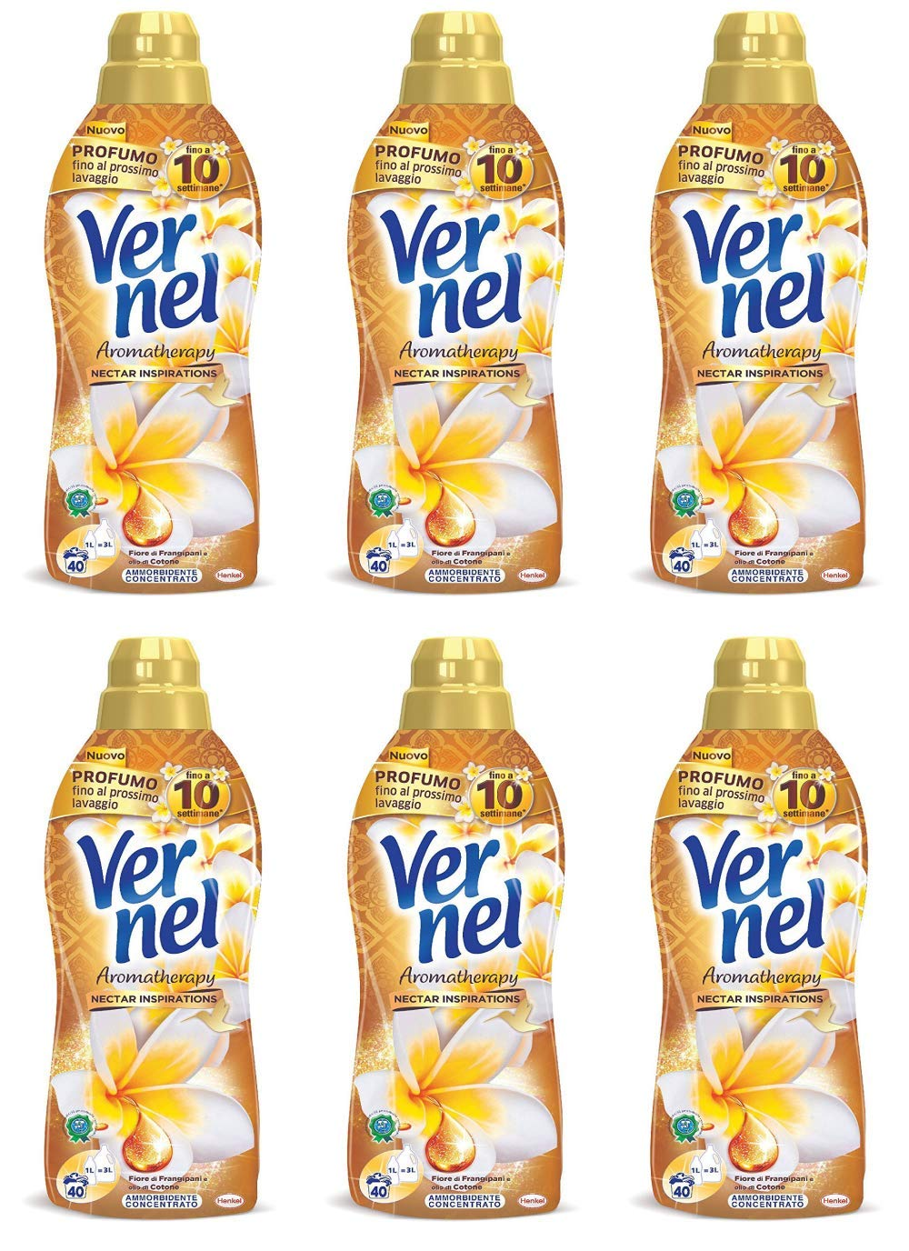 Vernel - Concentrated Fabric Softener, Aromatherapy Frangipani Flowers and Cotton Oil Scent 1 Litre /33.81fl.oz, pack of 6