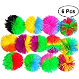 TOYMYTOY 6pcs 6cm Colorful Silicone Koosh Ball Bouncing Fluffy Jugging Ball Sensory Fidgets Stress Relief Toy (Random Color)