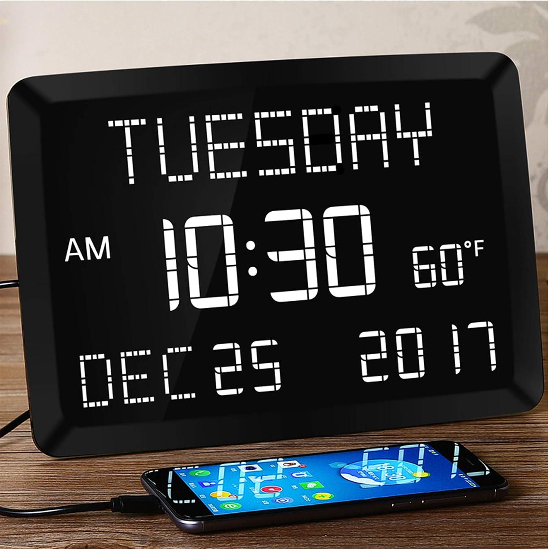 "Mesqool Digital Calendar - 11.5"" Large Alarm Clock for Bedroom"