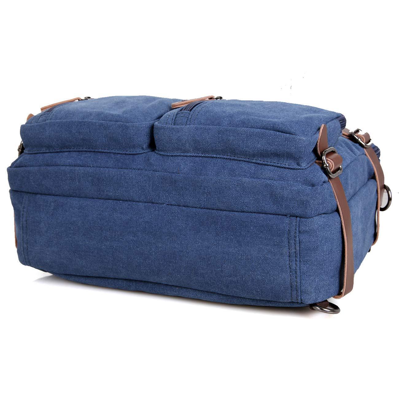 Clean Vintage Laptop Bag Hybrid Backpack Messenger Bag/Convertible Briefcase Backpack Satchel for Men Women- BookBag Rucksack Daypack-Waxed Canvas Leather, Blue by Clean Vintage (Image #8)