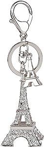 Cute Eiffel Tower Keyring 3D Rhinestone French Retro Souvenir Paris Keychain Adornment Keyring Lovely Decorative Metal Craft Art Statue Model for Table Decor Gifts (Eiffel Tower-Silver)