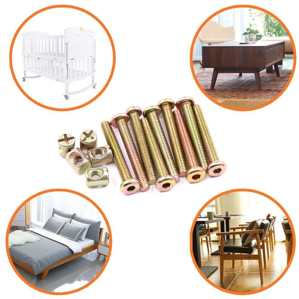 paquete de 15 SODIAL M6 x 35 mm plateado cinc hexagonal enchufe casquillo muebles barril tornillos tuercas surtido juego de pernos para muebles cunas camas cunas y sillas