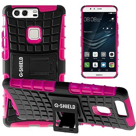 G-Shield Funda para Huawei P9 Plus, Carcasa Protectora Anti-Arañazos con Soporte, Rosa